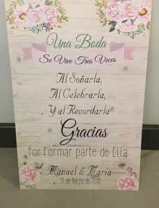 cartel de bienvenida boda amazon