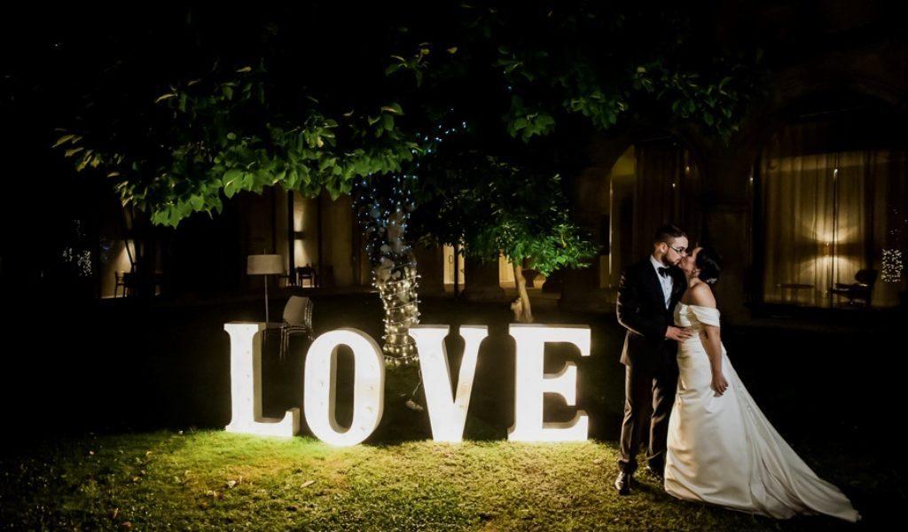 letras de boda con flores