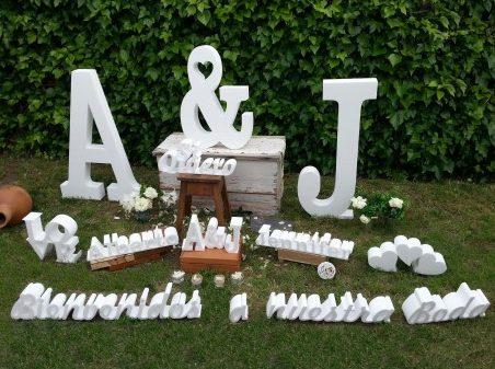 letras de boda con luces
