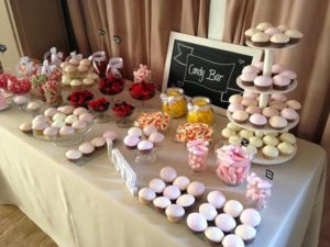 mesa de dulces para boda azul